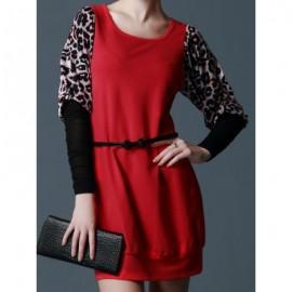Vintage Scoop Neck Long Sleeves Leopard Splicing Dress For Women