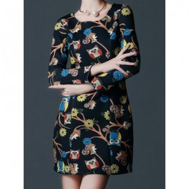 Vintage Scoop Neck Long Sleeves Owl Print Dress For Women
