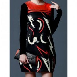 Vintage Scoop Neck Long Sleeves Print Knitting Sleeves Dress For Women
