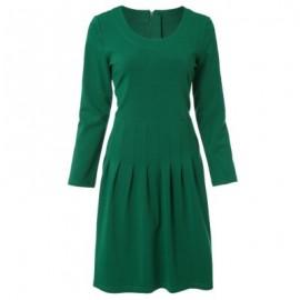 Vintage Scoop Neck Long Sleeves Solid Color A-Line Dress For Women