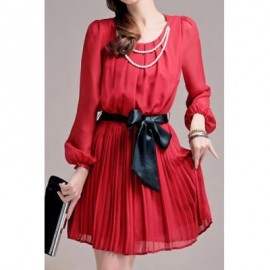 Vintage Scoop Neck Long Sleeves Solid Color Pleated Dress For Women