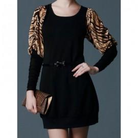 Vintage Scoop Neck Long Sleeves Tiger Stripes Splicing Dress For Women