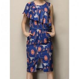 Vintage Scoop Neck One-Shoulder Print Slit Flounce Dress For Women