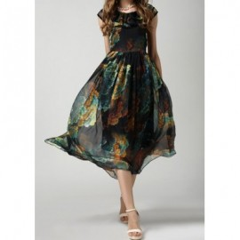 Vintage Scoop Neck Print Flounce Chiffon Long Dress For Women