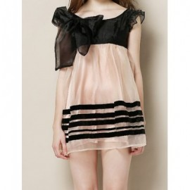 Vintage Scoop Neck Short Sleeve Bowknot Embellished Organza Women's Dress