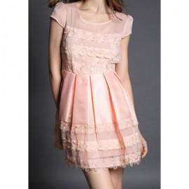 Vintage Scoop Neck Short Sleeve Flower Pattern Women's Dress