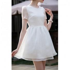 Vintage Scoop Neck Short Sleeves Plaid Dress For Women
