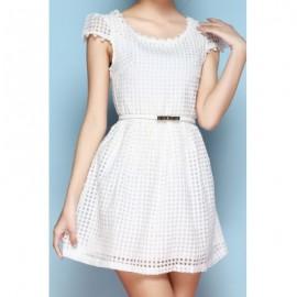 Vintage Scoop Neck Short Sleeves Solid Color Dress For Women