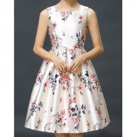 Vintage Scoop Neck Sleeveless Flower Print Bowknot Dress For Women