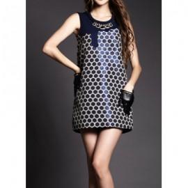 Vintage Scoop Neck Sleeveless Jacquard Polka Dot Dress For Women