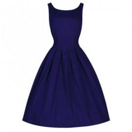 Vintage Scoop Neck Solid Color Large Hem Sleeveless Dress For Women
