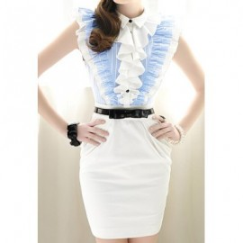 Vintage Shirt Collar Single Breasted Flounce Color Splicing Sleeveless Dress For Women
