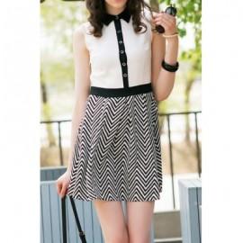 Vintage Shirt Collar Sleeveless Single Breasted Ripple Pattern Dress For Women