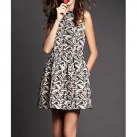 Vintage Sleeveless Round Collar Jacquard Dress For Women