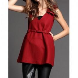 Vintage Solid Color V-Neck Sleeveless Belt Dress For Women