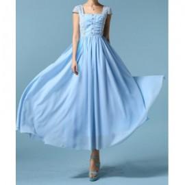 Vintage Square Neck Short Sleeve Lace Embellished Women's Dress