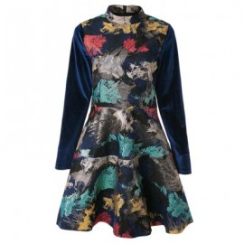Vintage Stand Collar Long Sleeves Print Dress For Women