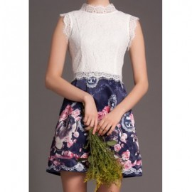 Vintage Stand Collar Sleeveless Lace Splicing Floral Print Dress For Women