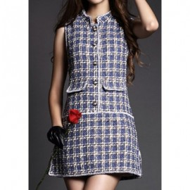 Vintage Stand Collar Sleeveless Plaid Single Breasted Woolen Dress For Women
