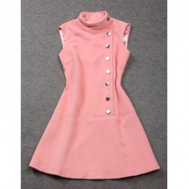 Vintage Stand Collar Sleeves Single Breasted Solid Color Dress For Women