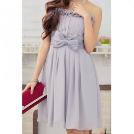 Vintage Strapless Bowknot Solid Color Flounce Prom Dress For Women