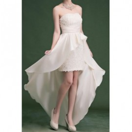 Vintage Strapless Solid Color Rose Asymmetric Prom Dress For Women
