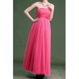 Vintage Strapless Solid Color Rose Voile Splicing Long Prom Dress For Women