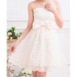 Vintage Strapless Voile Splicing Bowknot Solid Color Prom Dress For Women