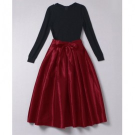 Vintage Style Round Neck Color Block Bowknot Long Sleeve Women's Dress