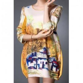Vintage Style Scoop Neck 3/4 Sleeve Printed Women's Dress