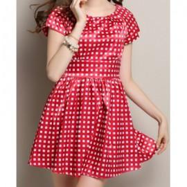 Vintage Style Scoop Neck Short Sleeve Plaid Women's Dress