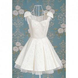 Vintage Sweetheart Neckline Bow Embellished Flounce Sleeveless Women's Dress