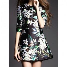 Vintage Turn-Down Collar Half Sleeves Pritned Dress For Women