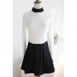 Vintage Turn-Down Collar Long Sleeves Color Block Lace Splicing Dress For Women