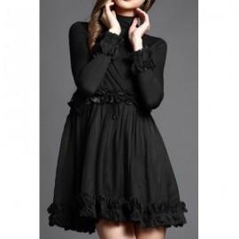 Vintage Turtleneck Long Sleeves Solid Color Lace Embellished Dress For Women