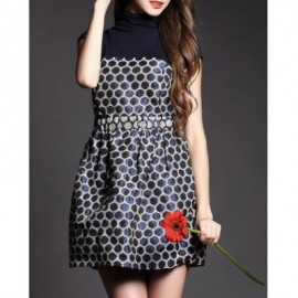 Vintage Turtleneck Short Sleeves Polka Dot Dress For Women