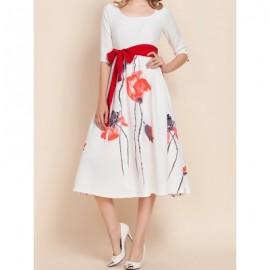 Vintage U-Neck Half Sleeves Floral Print Dress For Women