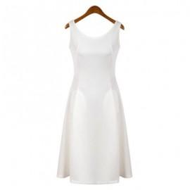 Vintage U-Neck Sleeveless Pocket Design Solid Color Women's Dress