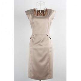 Vintage U-Neck Solid Color Sleeveless Dress For Women