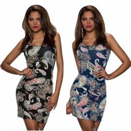 Brand  Summer Dress Women Vintage Printed Sleeveless Mini Dress P0pular Lady's Bodycon Casual Dress 9109