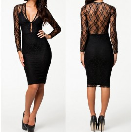 European Fashion Women Dress Sexy Black Spring Winter Long Sleeve Knee Length Midi Bodycon Dress Sexy Lace Dress 9041