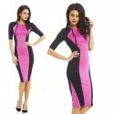 Fashion Half Sleeve Autumn Dress Brief Patchwork Slim Fitted Bodycon Bandage Dress High Street Casual Dress 9073