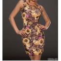 Fashion Sexy Floral Printed Vintage Dress Sleeveless Bodycon Slimming Vestidos Desigual Summer Mini Dress 9150