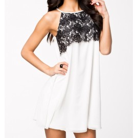 Fashion Summer Dress Women Spaghetti Strap Loose Floral Lace Casual Dress 9108