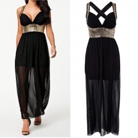Fashion Summer Ladies Sequined Halterneck Boho Maxi Dress Black Casual Sequined Chiffon Dress 9110