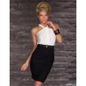 Fashion Vestidos Women Sexy Contrast Color Patchwork Halter Plus Size Bodycon Bandage Dress Casual Dress 1402