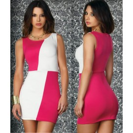 Fashion Women Sexy Contrast Color Patchwork Mini Bodycon Dress Sexy Club Evening Party Dress 405
