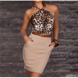 Summer Dress OL Elegant Career Dress Women Work Wear Sexy Leopard Printed Dress Mini Bodycon Casual Dress 9014