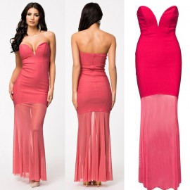 Summer Dress Sexy Strapless Celeb Bodycon Bandage Dress Maxi Long Party Dress 9148