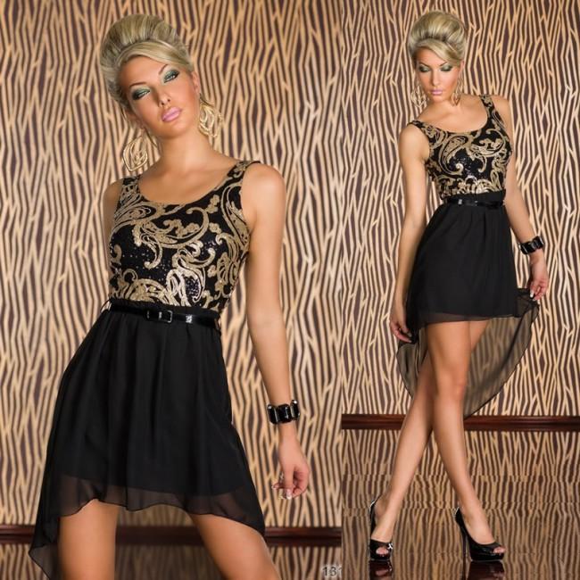 Vestidos De Festa Women Black Sequined Asymmetrical Summer Chiffon Dress Sexy Bodycon Party Dress 9037